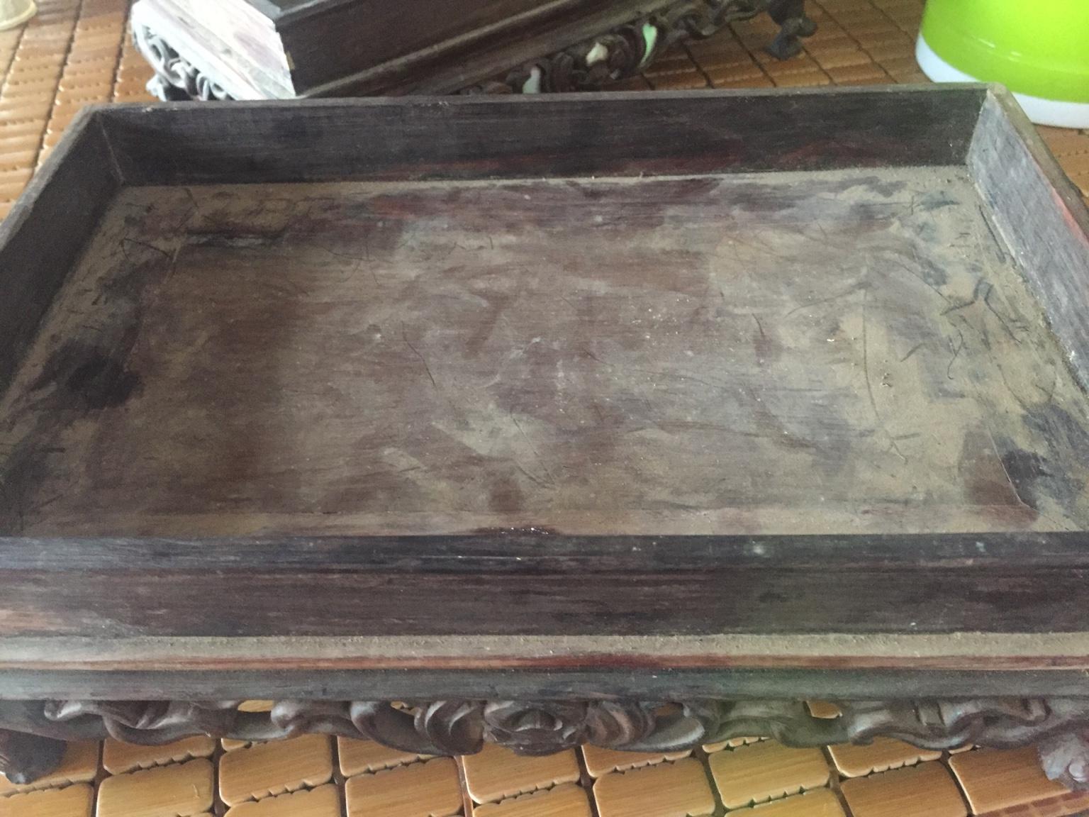 khay sóc gỗ trắc đục riễu tàu  kt dài 30cm rộng 20cm lh 0974710348