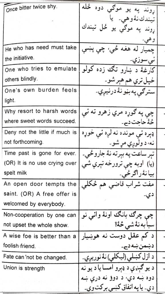All Important Pushto Proverbs in one place with English