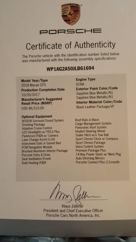 Just Got My Birth Certificate Porsche Macan Forum