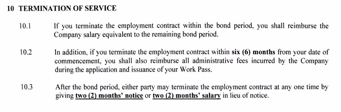 Terminate Employment Contract During Bond Period  Singapore Expats
