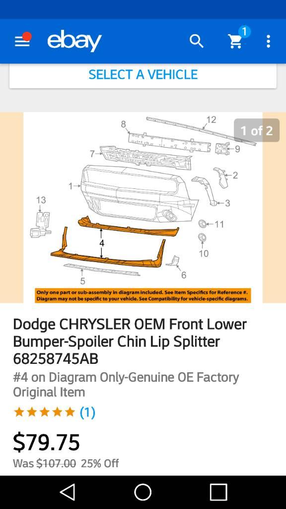 Dodge CHRYSLER OEM Front Lower Bumper-Spoiler Chin Lip Splitter 68258745AB
