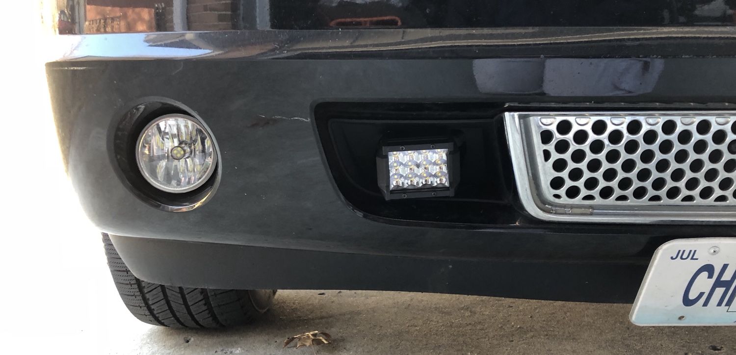 Thinking about adding led light bar page 2 chevy tahoe forum i still have to get it aimed and tweak the mounting it is small but they are really bright aloadofball Gallery