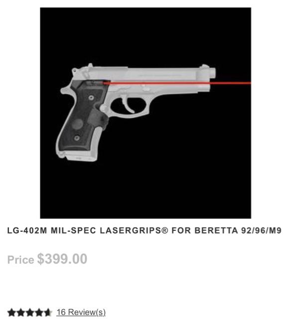 NEW MilSpec CrimsonTrace Beretta 92/96/M9 Laser grips/rifle