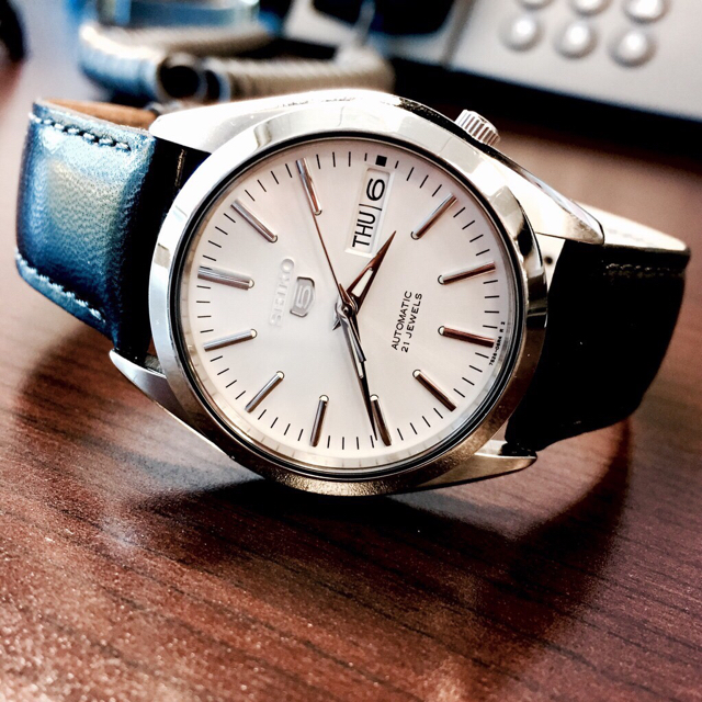 """534a5008770 I wear a Seiko 5 as my """"Sunday"""" watch. With the right dial and case  combination it can look very refined"""