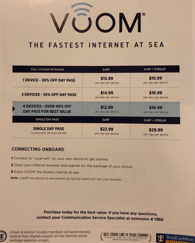 Voom (WiFi) questions-Can I order just for sea days? - Royal