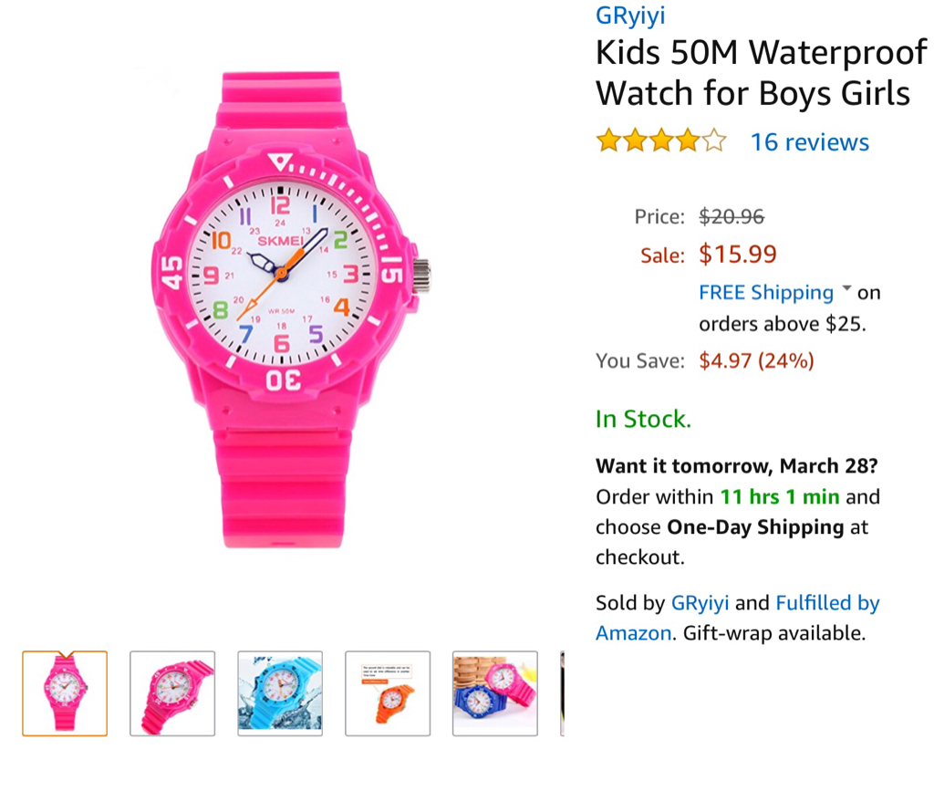 710b419a5 I bought my 7 year old this  16 watch after she lost her  50 Swatch. She is  more careful and wears it every day.