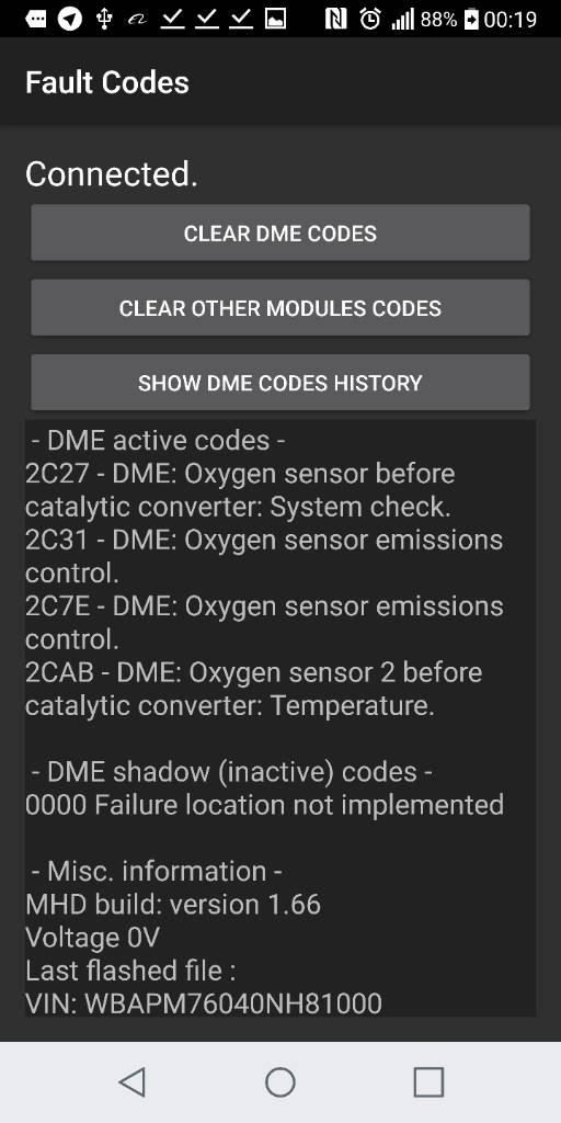 N54 o2 sensor codes