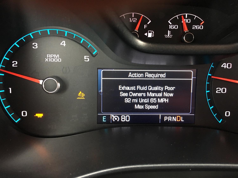 2011 Chevy Silverado Exhaust Fluid Quality Poor