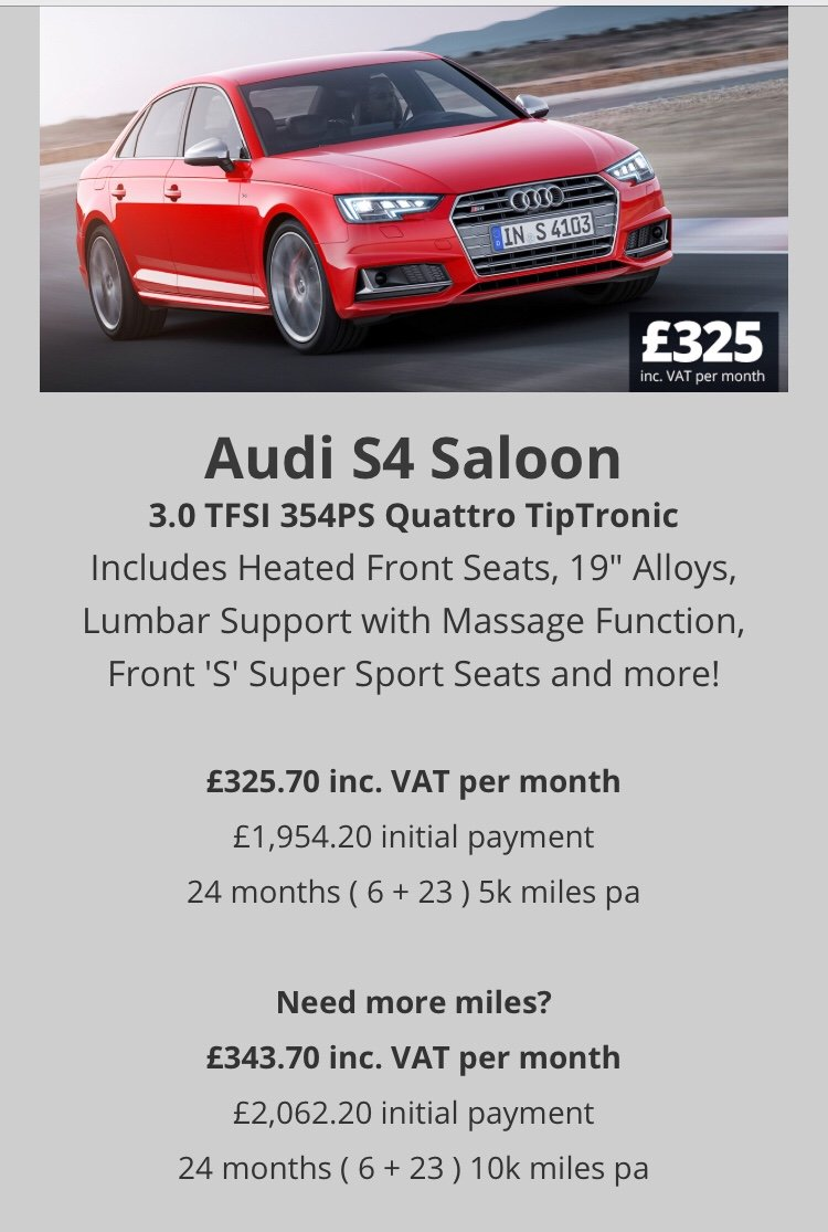 Cheap Car PCH Deals Personal Contract Hire Leasing AudiSportnet - Audi personal car leasing deals