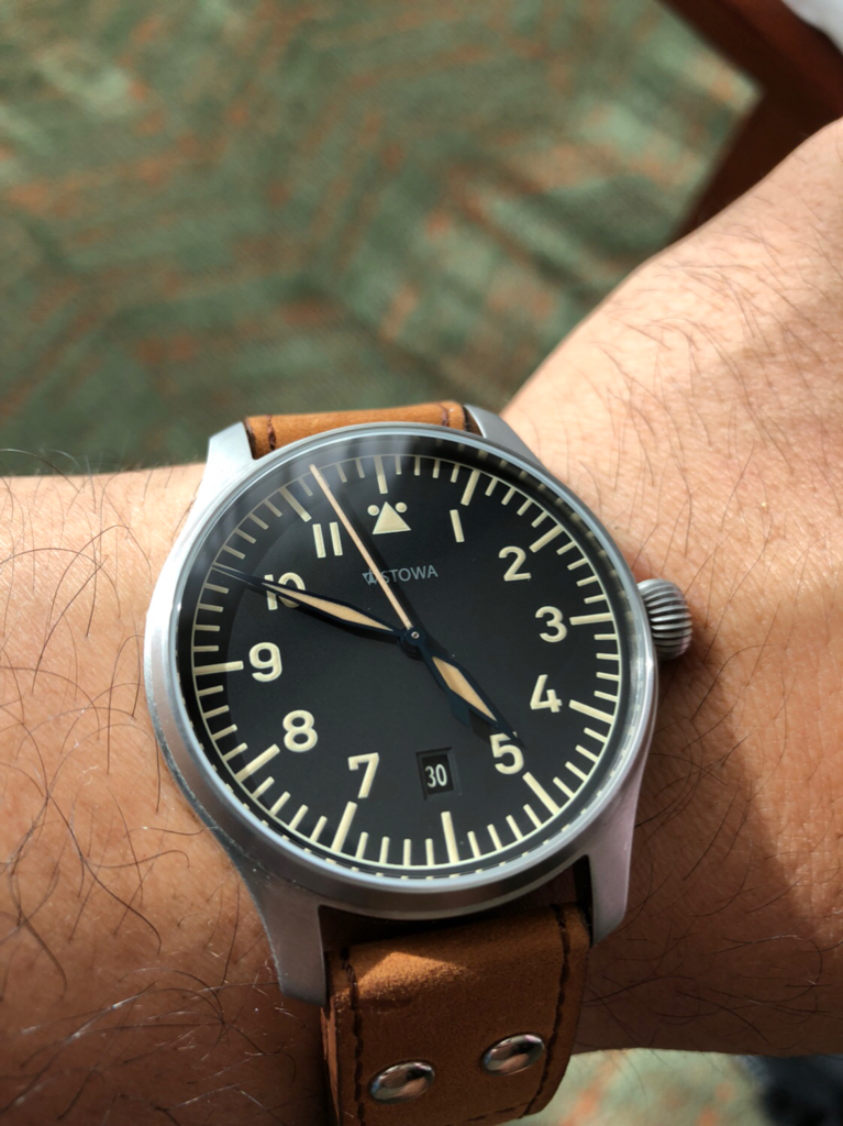 aaff83fec35 I was wanting another Stowa flieger since I flipped my first one. I was  lucky to find an anniversary edition. I think it works on my 7 3 4 inch  wrist.
