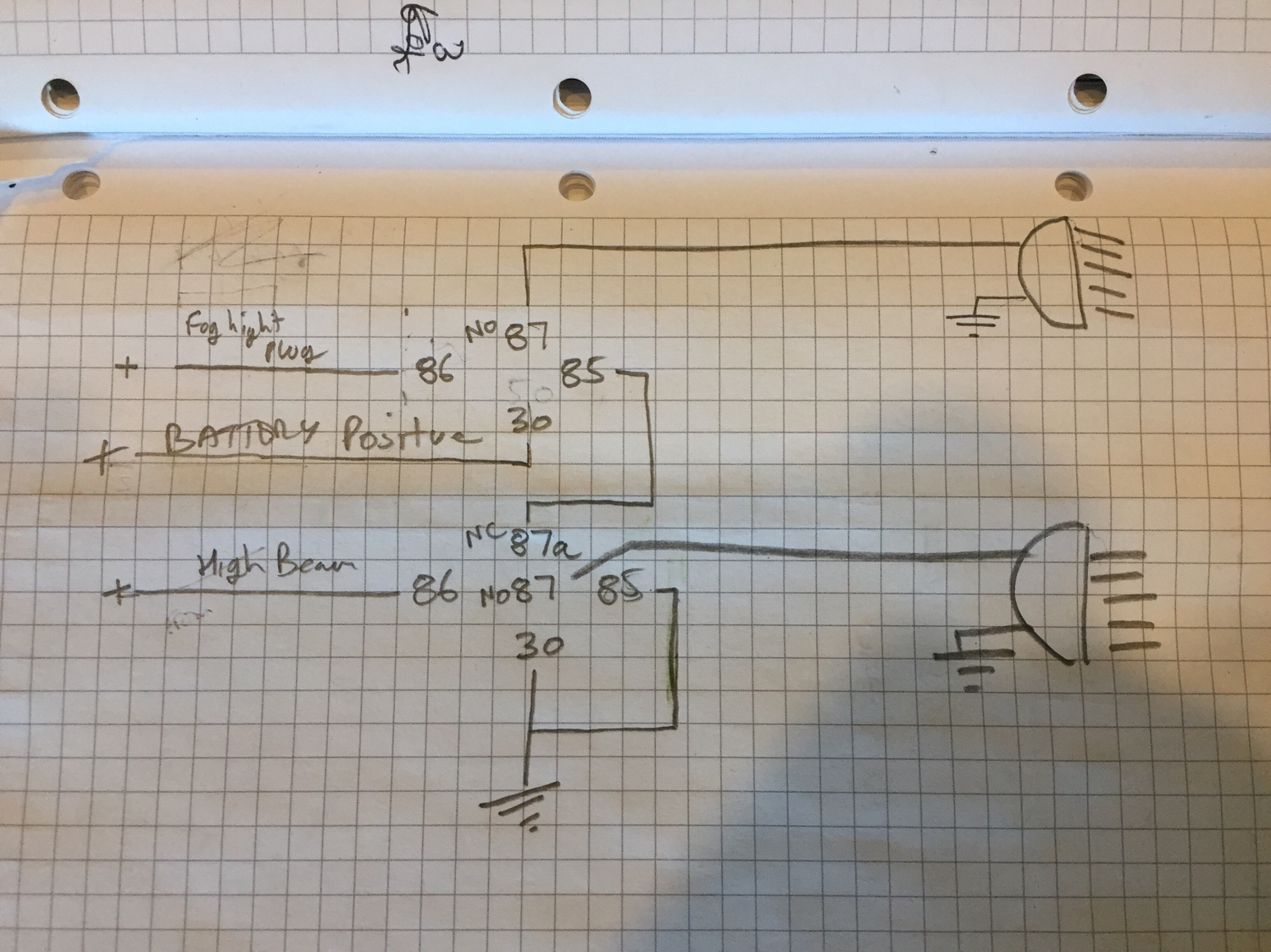Fog And Spot Lights Offroad 80s Off Road Light Wiring Diagram No Relay I Drew Up A For My New But Forgot About The Negative Switching On High Beam