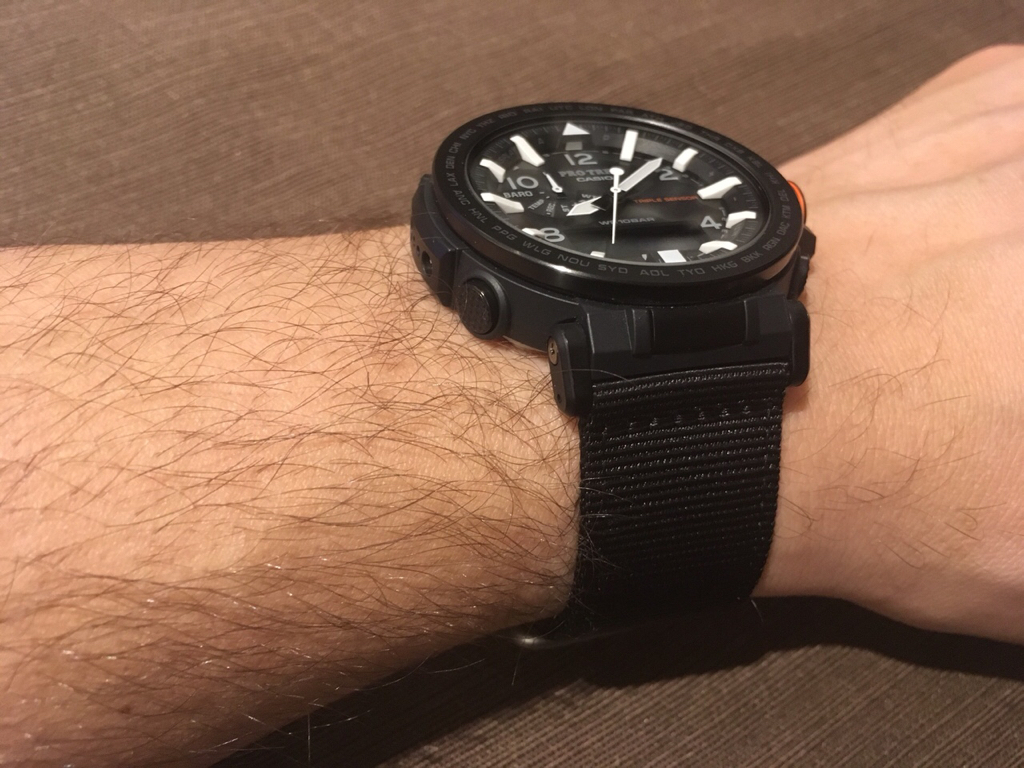 Swap A Casio Camouflage Nylon Band For Solid Color Pro Trek Prg 600yb 3 I Transferred The Blasted Steel Buckle From Original Strap Which Fits Perfectly Voila There Are While Range Of Colors And Stripped