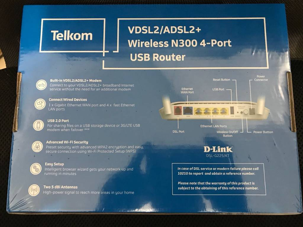 Sealed D-Link DSL-G225 N300 Wireless router +USB 3G dongle