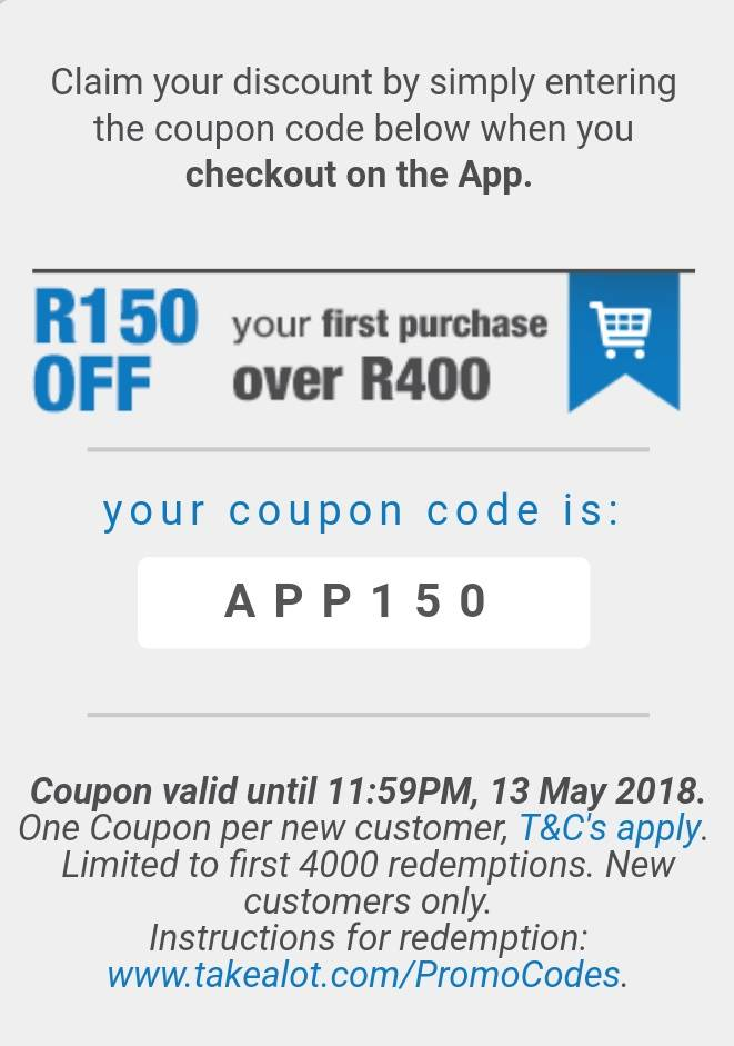 starke.ga offers you the best Vouchers for Takealot. In general, Takealot Offers are in the following categories: Department Store. If Takealot is your favorite store, we advise you to subscribe our Takealot Discount Code alert. All promo codes are valid at the time of publication. ozsavingspro wishes you enjoy your shopping and have a.