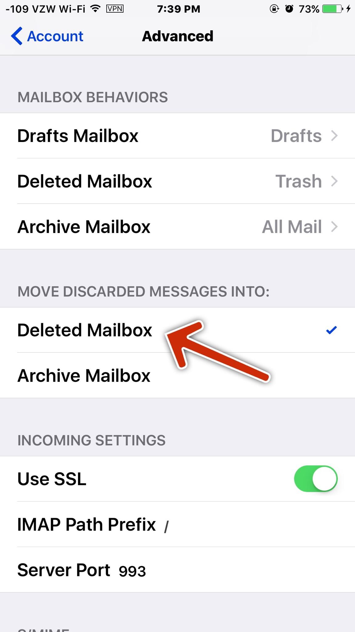 Mail loses Trash Option   sometimes  - iPhone, iPad, iPod