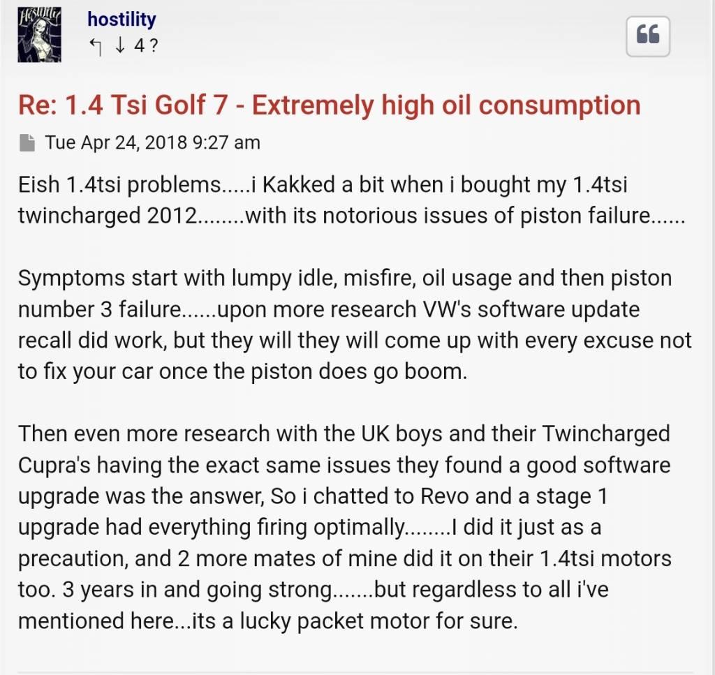 Golf 7 TSI oil consumption | MyBroadband Forum