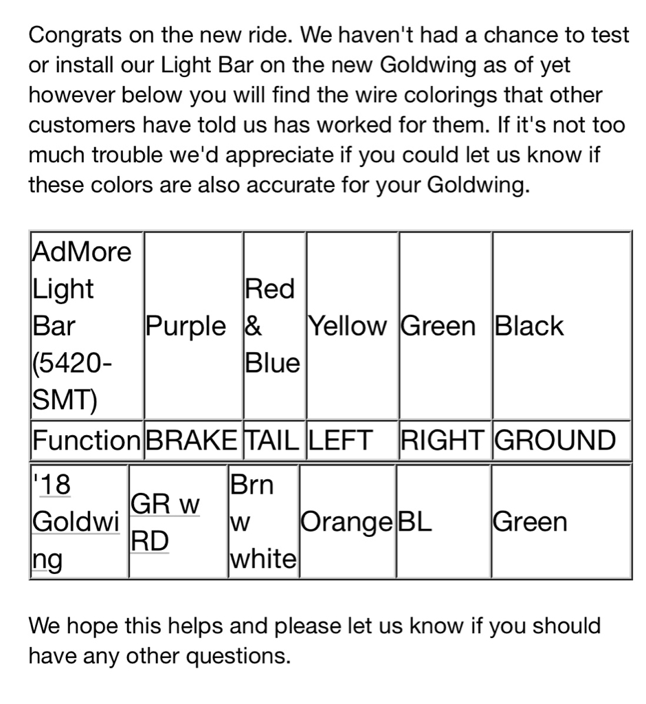 3rd Party Brake Light / Turn Signal / Running Light | GL1800Riders Forums | Admore Lighting Wiring Diagram |  | GL1800Riders Forums