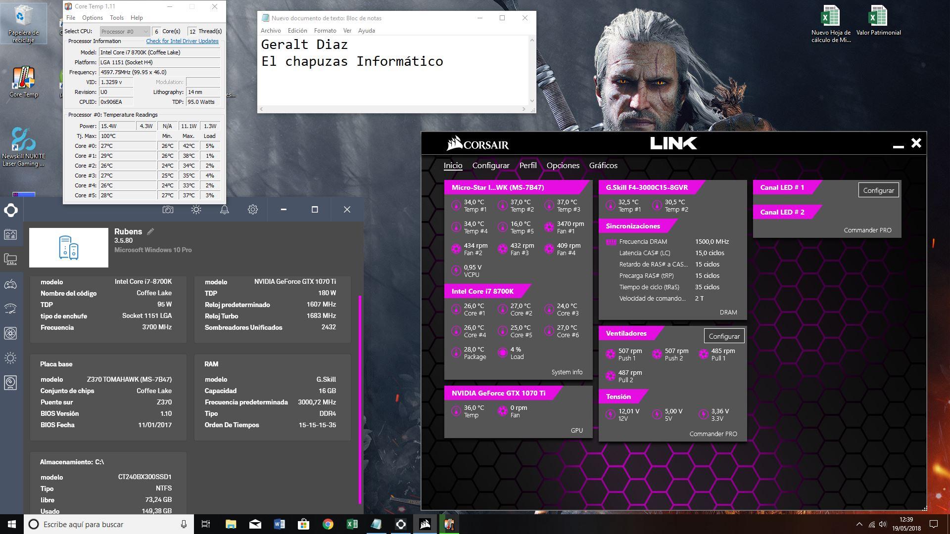 [Vendo] PC GAMER I7 8700K GTX 1070 TI 16GB DDR4