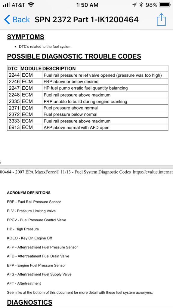epa maxxforce 13 fuel codes
