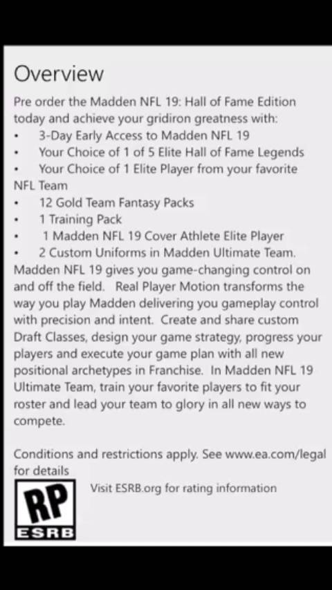 Madden 19 Draft class 2019- 2022 (Xbox one) - Operation