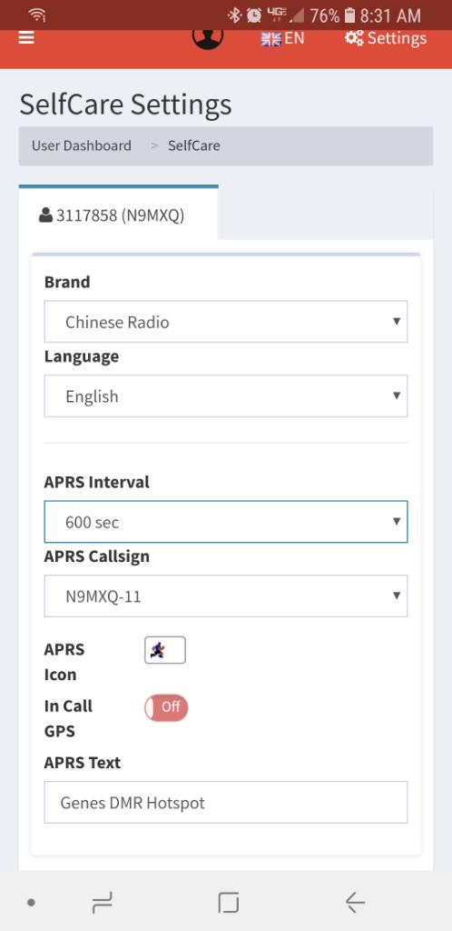 Disable Sending APRS Information - forum pistar uk