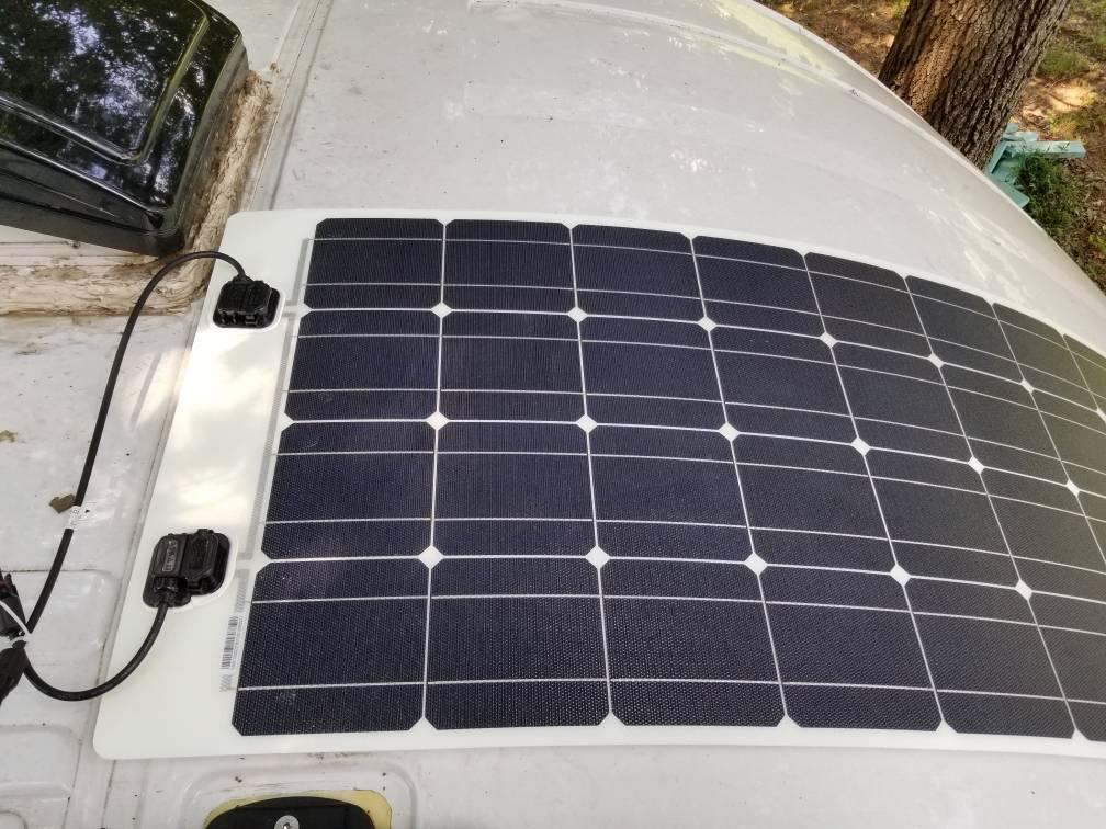Flexible Solar Panels Above Windshield Ford Transit Usa