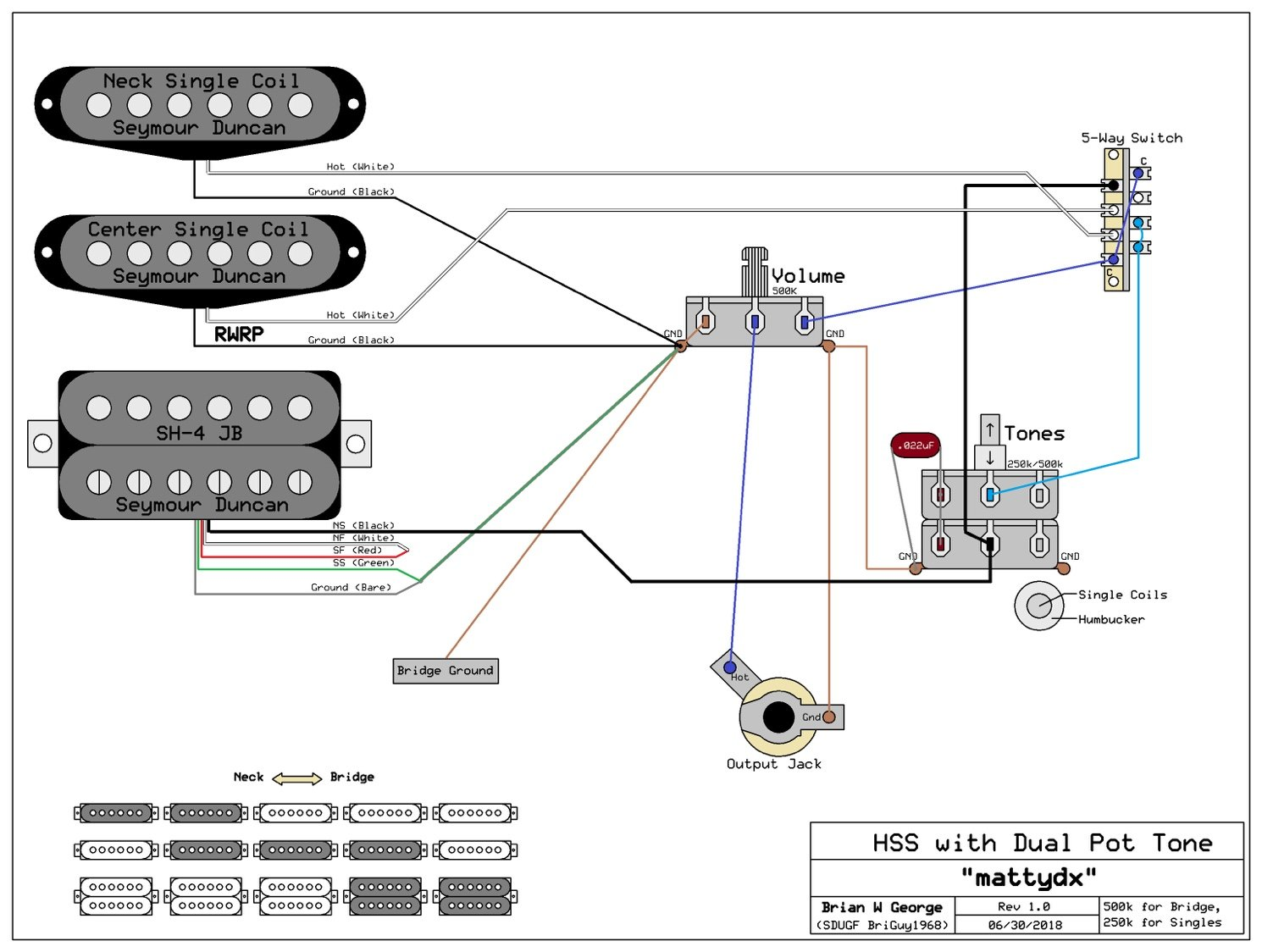 Wiring Schematic For Hss 1 Tone Volume Dual 250 500k Pots Diagram 2 Humbuckers 5way Lever Switch 06 One Thing Worth Mentioning Is That In Position Both Parts Of The Control Will Affect Sound If You Wanted To Avoid It Would Require Use