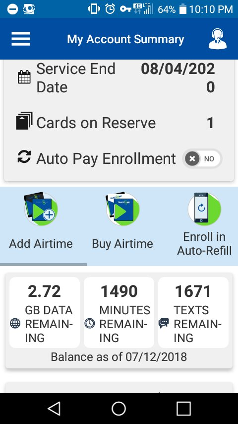 Tracfone app says card in reserve