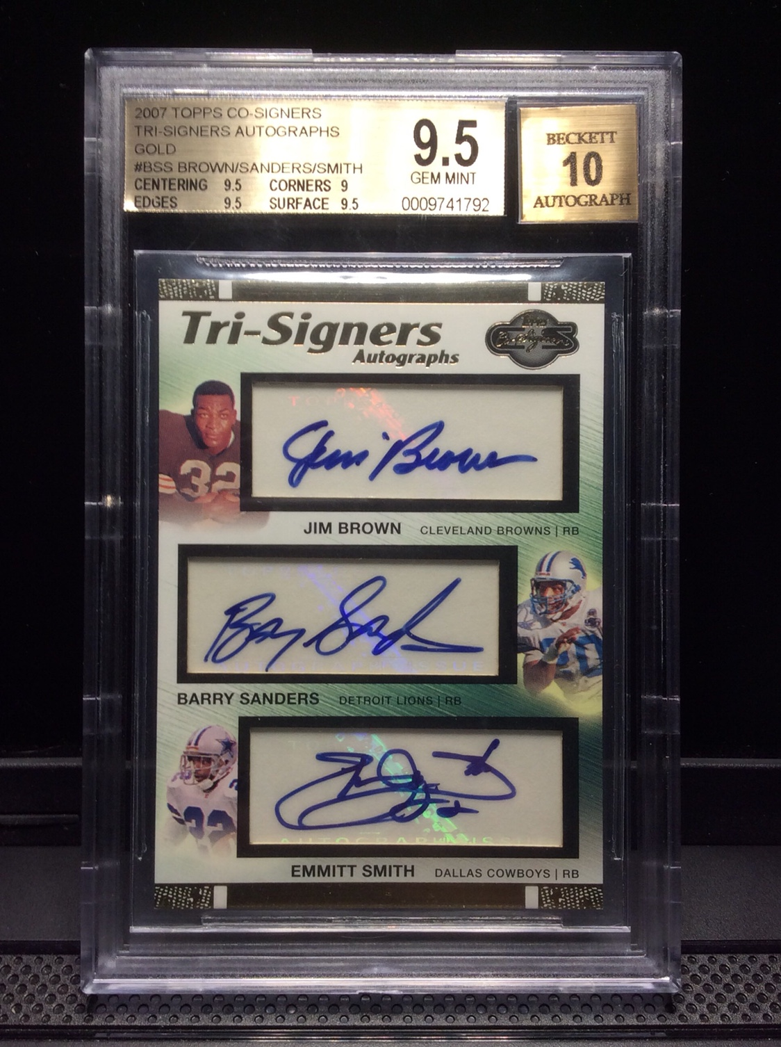 Jim Brown Emmitt Smith And Barry Sanders Triple Auto Sn 10 Bgs
