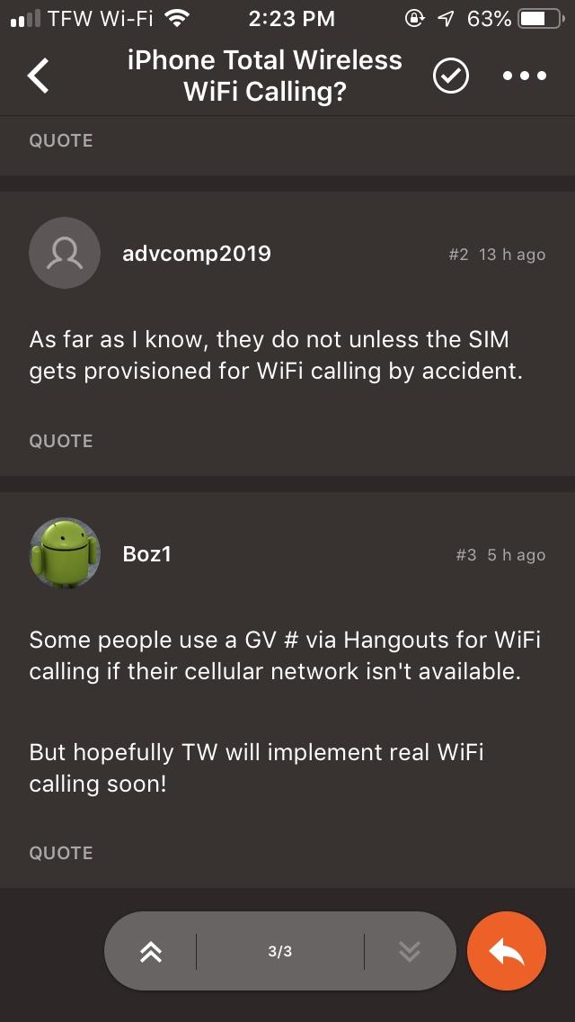 iPhone Total Wireless WiFi Calling?