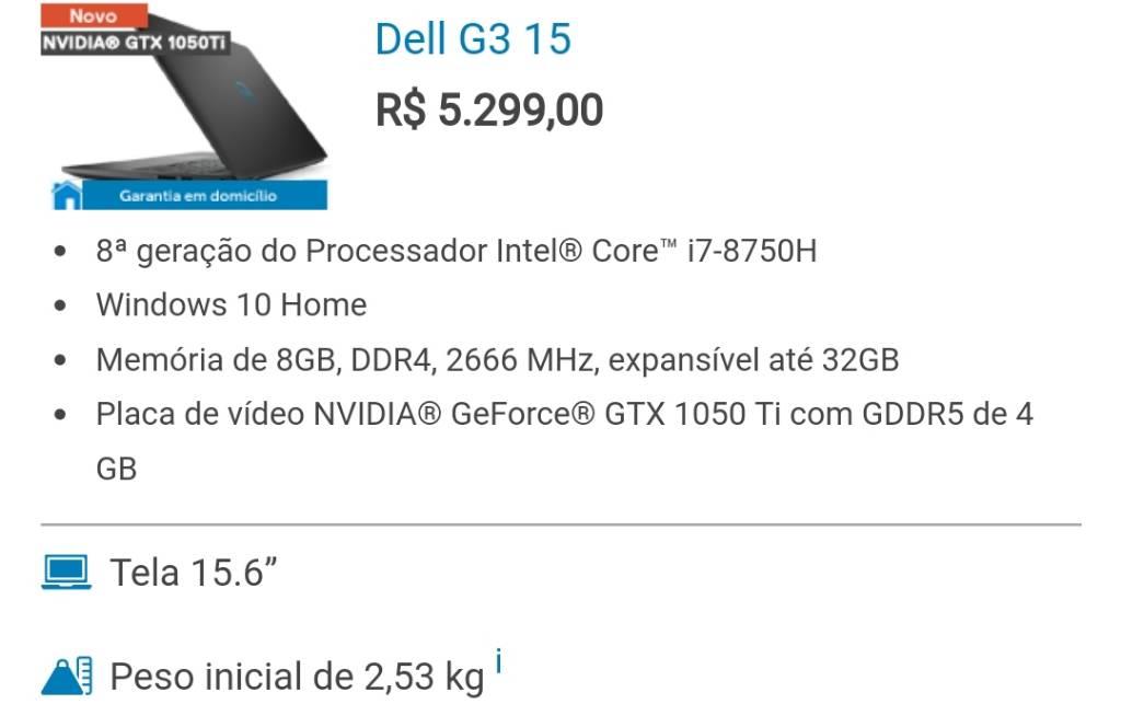 Submarino] Dell Gaming G3 i7 (8ª gen) 8GB 1TB 1050Ti - R$4085 no