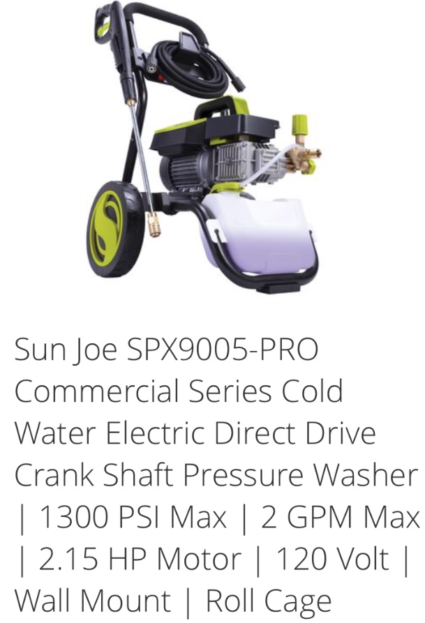 New Sunjoe Pro-Commercial Pressure Washer