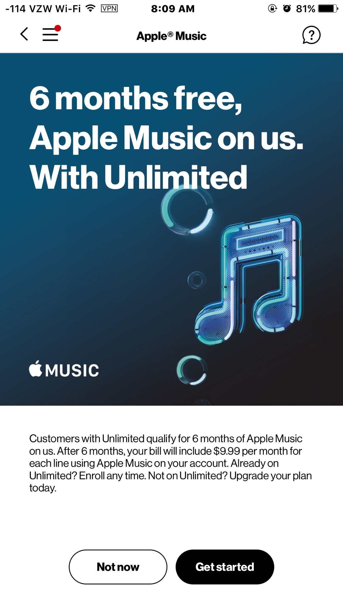 Free 6 months of Music for unlimited customers  - iPhone