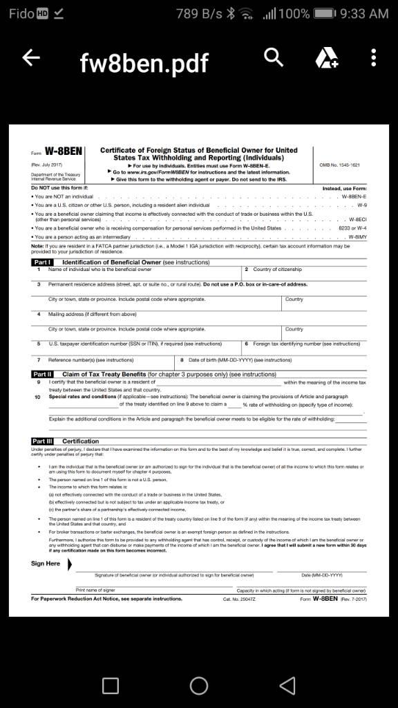 W 8ben Tax Form Vegas Fanatics Las Vegas Message Board And Forum
