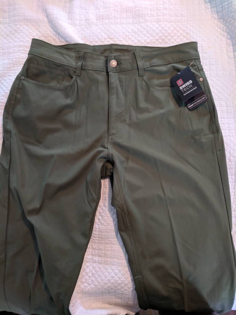 2f73ee5b Found a different pair to try at walmart that seems like a good outdoor pant.  Made by Swiss tech. Kind of a stretch poly 5 pocket. Called the travel pant.