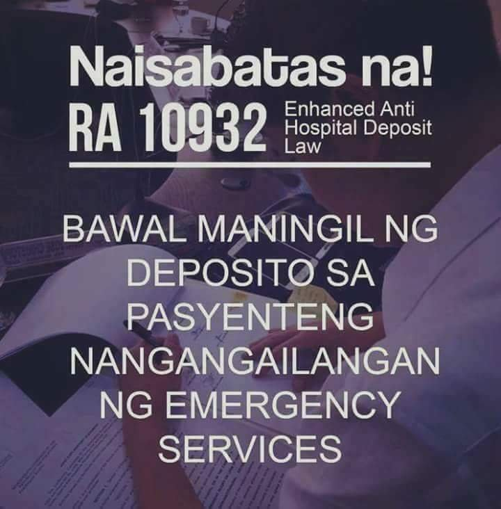 b7595ea37c1d3dabeed6fe8b0e5caf55 - No more deposit in hospital RA 10932 - Bohol Latest News