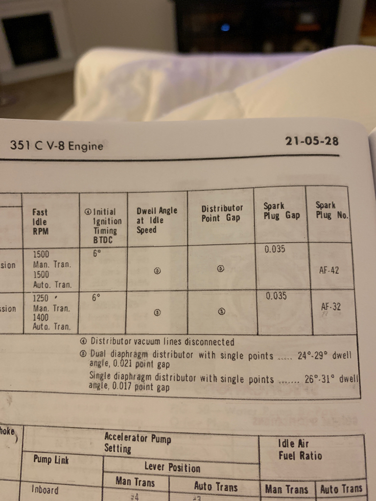 Recommended timing at 600/2000 rpm and dwell angle at idle