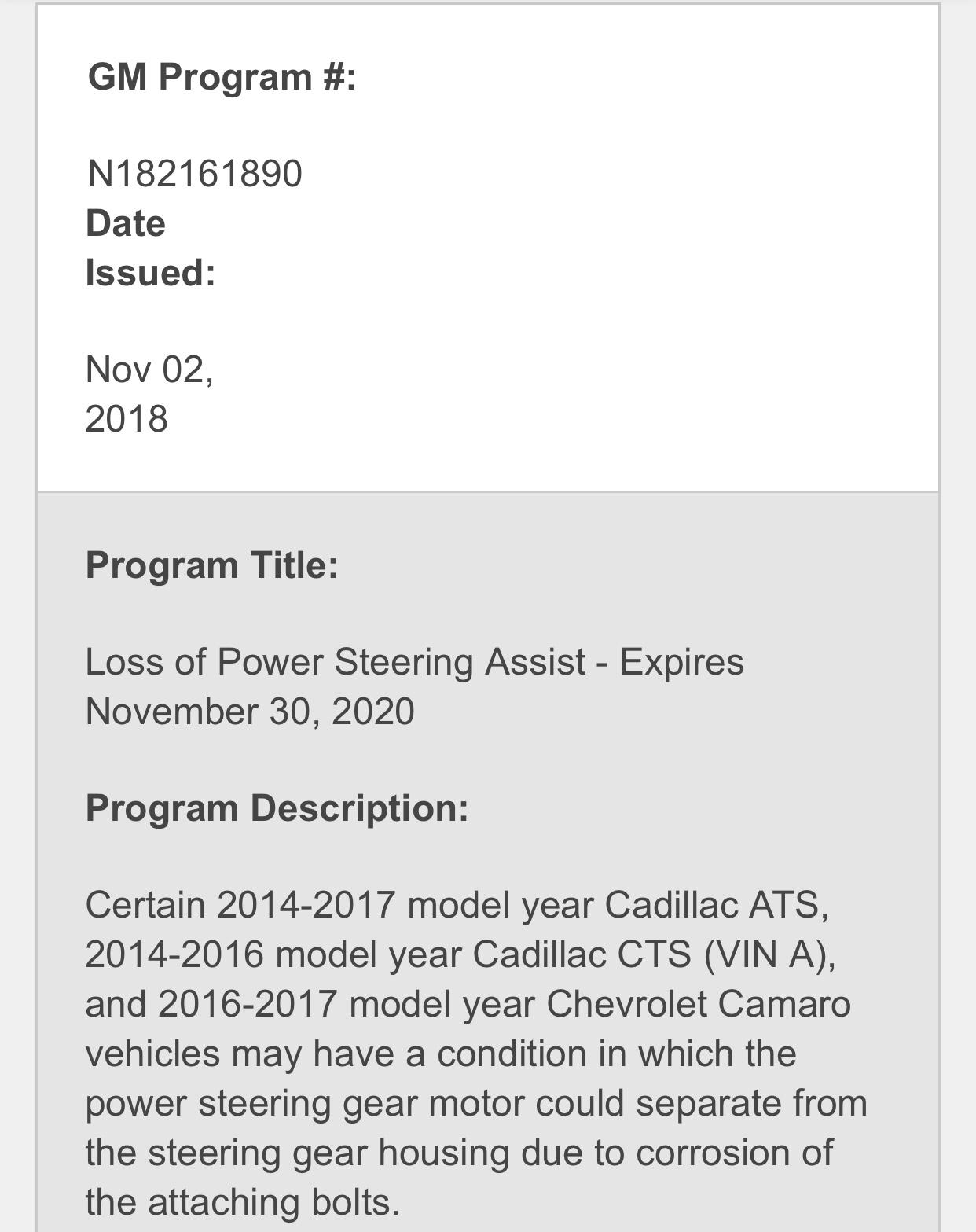 Recall: Loss of Power Steering Assist - Nov 2018 - CAMARO6