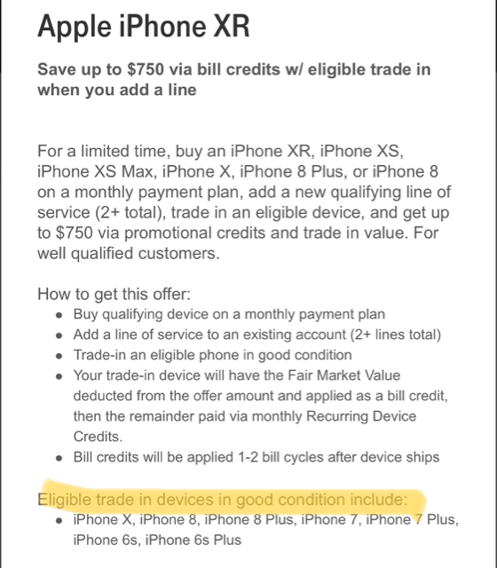 T-Mobile offering a free iPhone XR when you add a line and