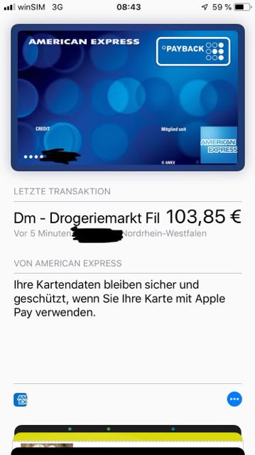 Unterschrift American Express Karte.Apple Pay Seite 145