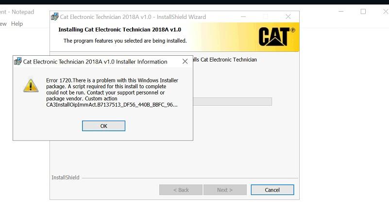 Cat et 2018 installation error!