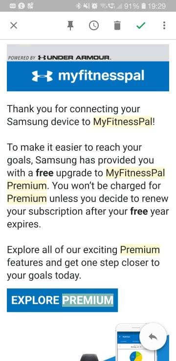 Free 12 month My Fitness Pal - Android Forums at