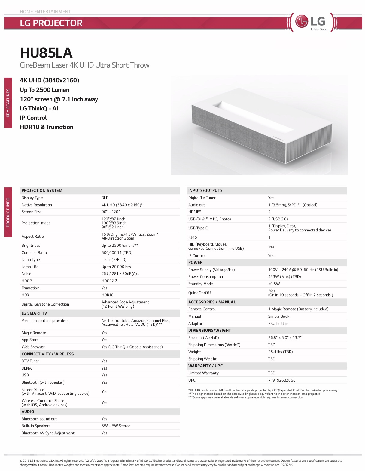LG HU85L 4K Ultra Short Throw Projector Announced  - Page 4
