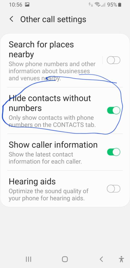 Remove contacts without phone numbers from google pixel 3