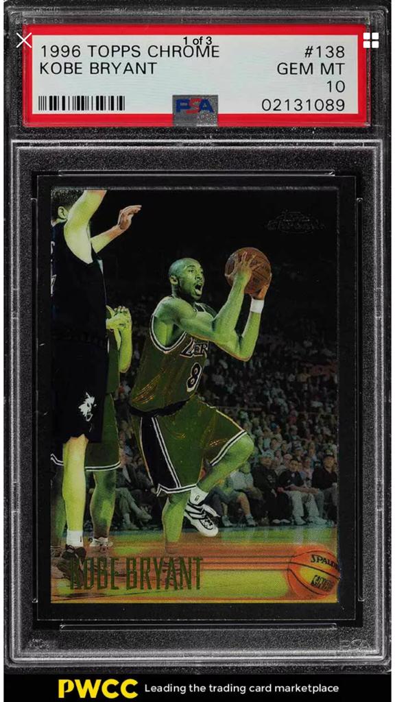 1996 Topps Chrome Kobe Bryant Greening Blowout Cards