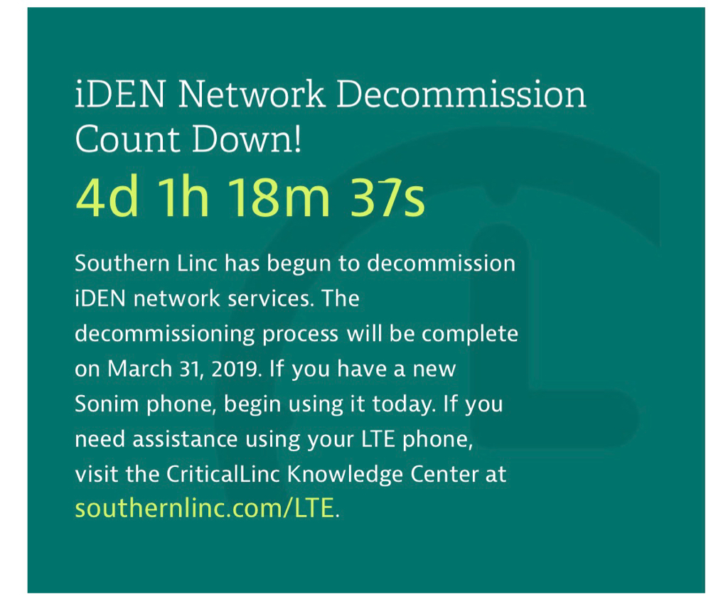 SouthernLINC iDEN shut down 03-31-19