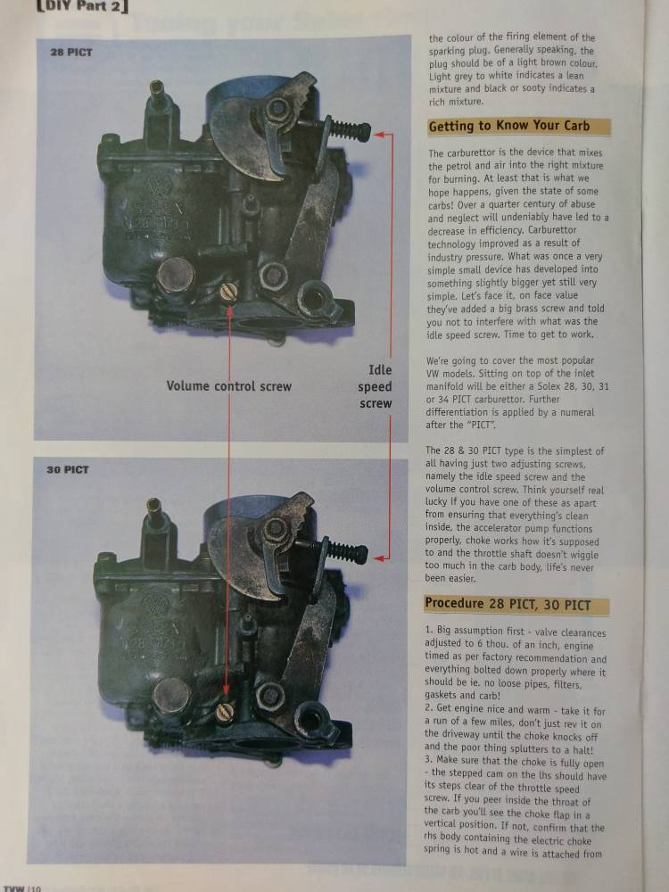Tuning your solex carb - 28, 30,34 pict. A guide from total VW magazine    The Late BayThe Late Bay