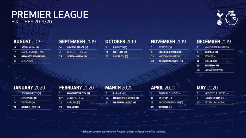 Fixtures Are Out For 2019/20