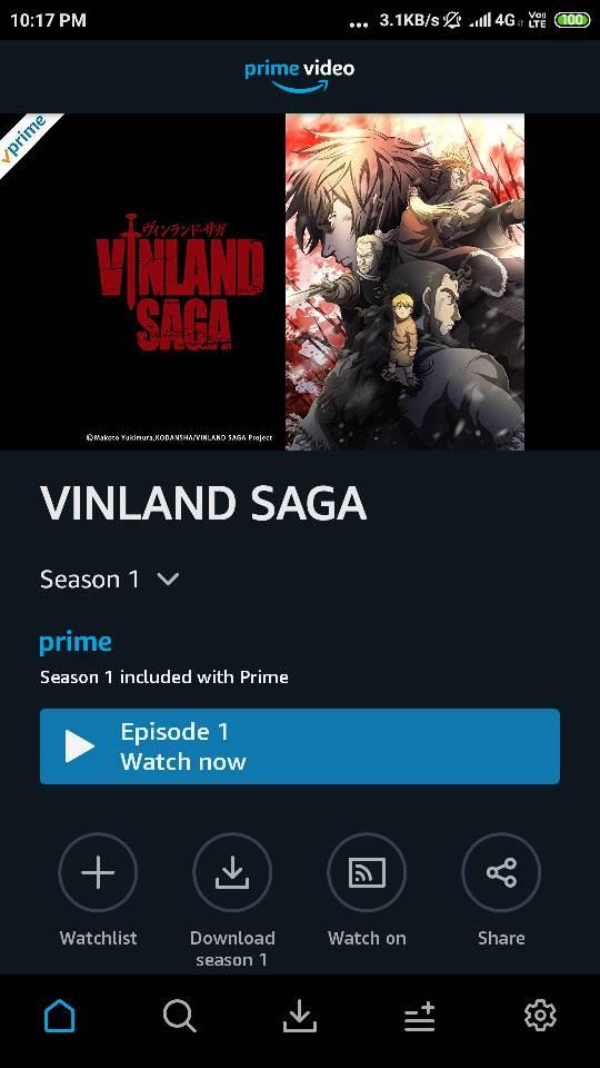 Vinland Saga added by Amazon Prime Video  | EntMnt