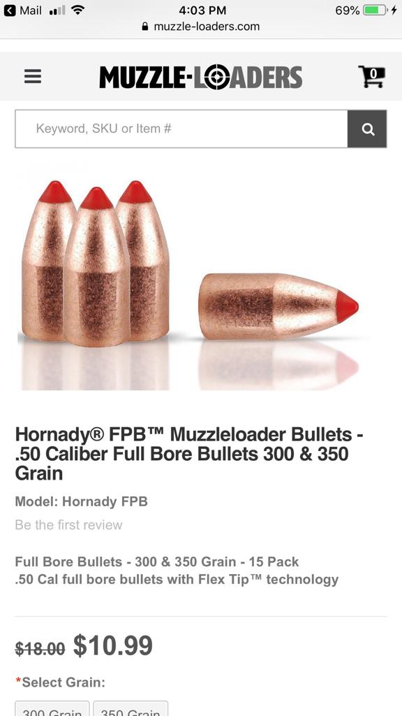 Hornady muzzleloader bullets on sale   Rokslide Forum